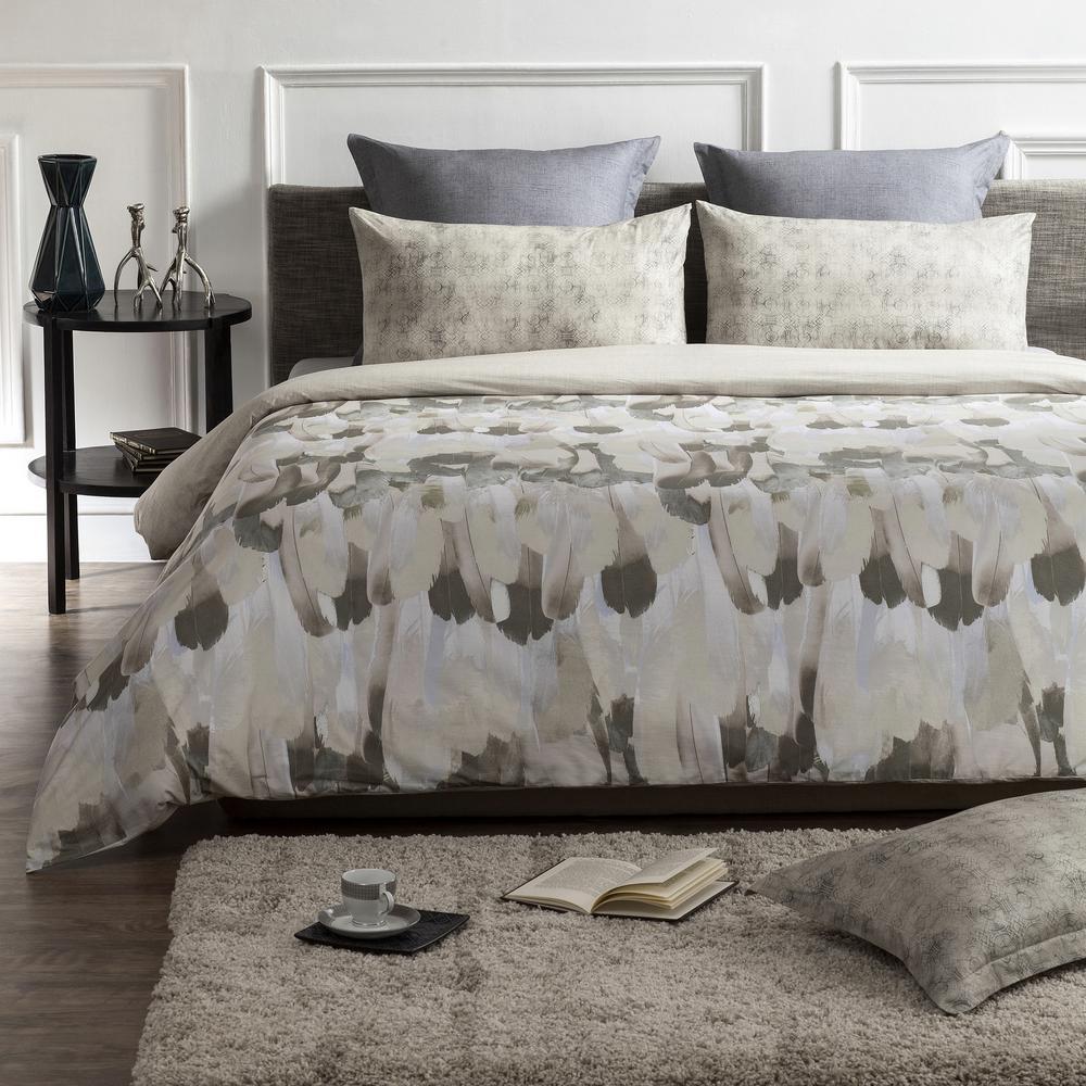 Safari Wrinkle Resistant Reversible Print 100% Organic Cotton Brown/Beige King Duvet Cover Set