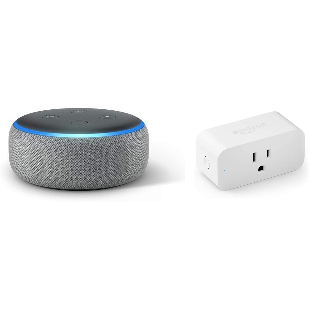 Echo Dot Plus Smart Plug in Heather Gray (Gen 3)