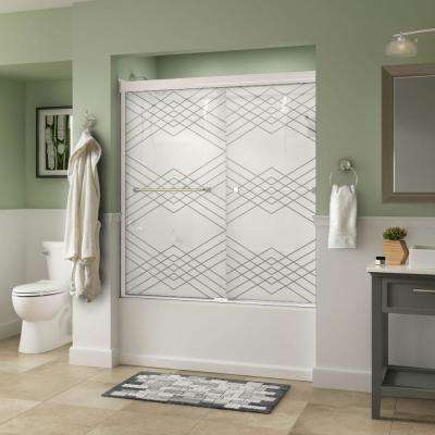 Everly 60 in. x 58-1/8 in. Semi-Frameless Traditional Sliding Bathtub Door in White with Chrome Handle and Argyle Glass