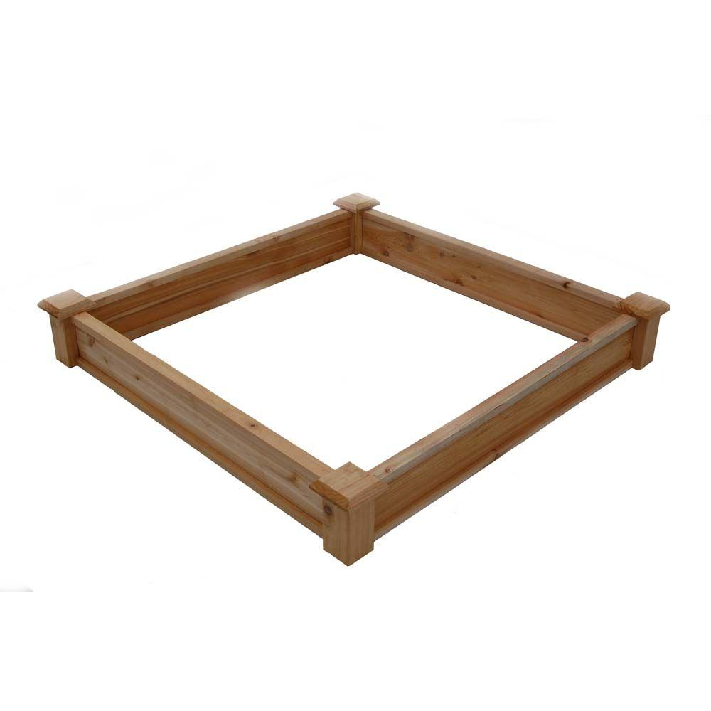 Frame It All 4 ft. x 4 ft. x 11 in. Square Sandbox Composite with ...