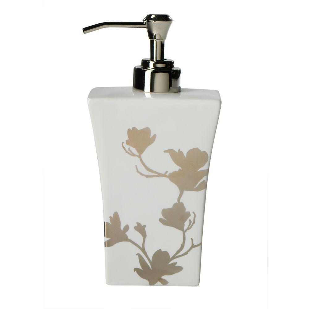 Home Decorators Collection Carissa 2-1/4 in. W Lotion Dispenser in Porcelain with Platinum