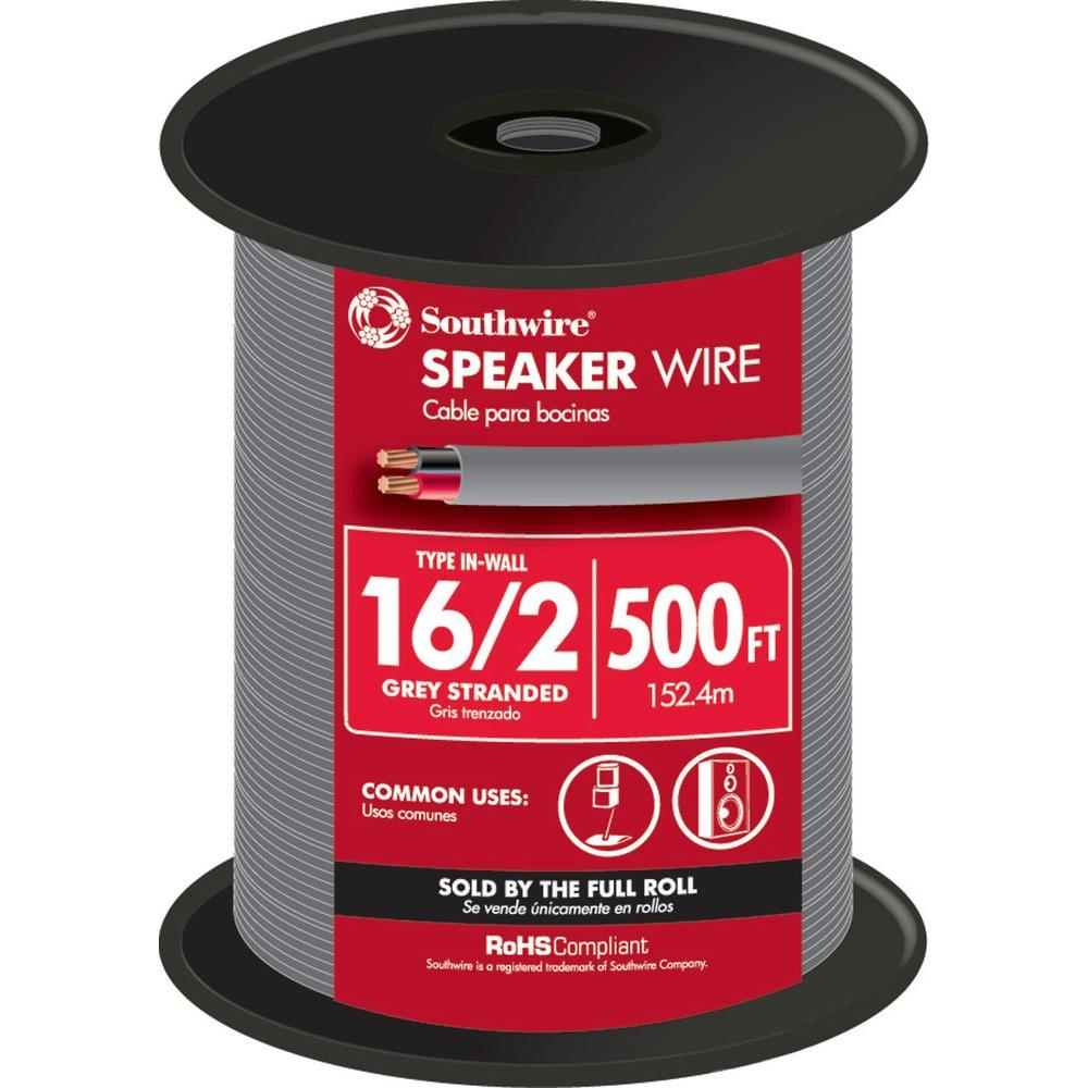 Southwire 500 ft. 16/2 Grey Stranded CU In-Wall CMR/CL3R Speaker Wire