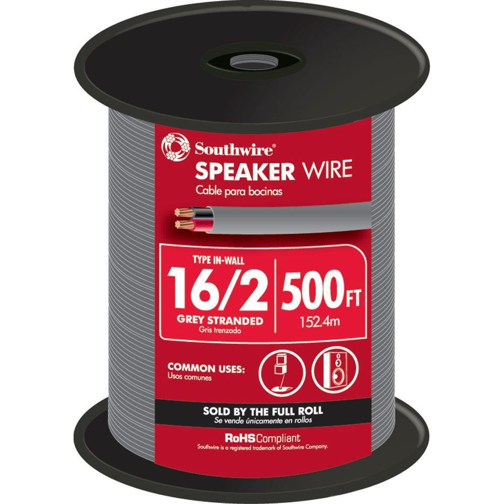 500 ft. 16/2 Grey Stranded CU In-Wall CMR/CL3R Speaker Wire