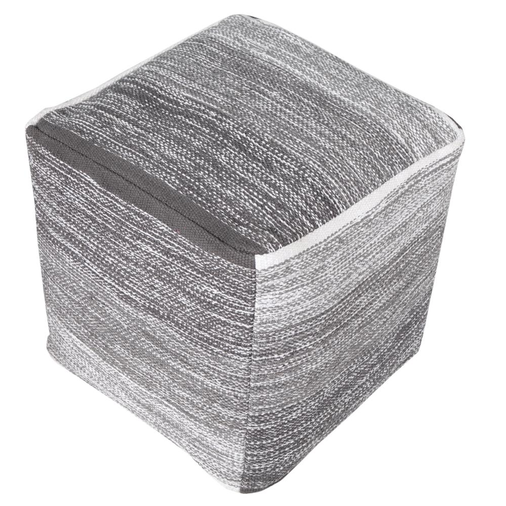 Gradation Melange 16 in. x 16 in. Grey Cube Indoor Pouf