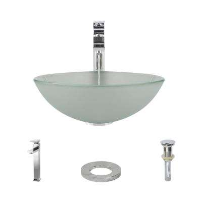 Glass Vessel Sink in Frosted with R9-7003 Faucet and Pop-Up Drain in Chrome