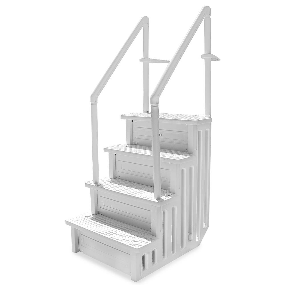 XtremepowerUS 32 in. Plastic Pool Safety Ladder 4-Step Deck Stairs for Above Ground Pools