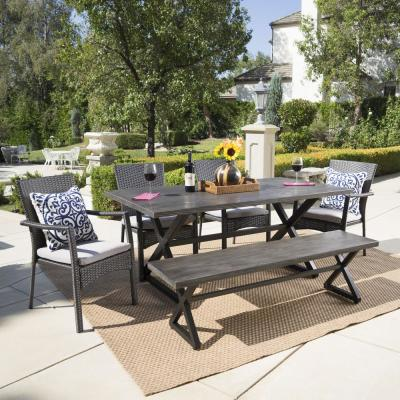 Grey 6-Piece Wicker and Aluminum Rectangular Outdoor Dining Set with Grey Cushion