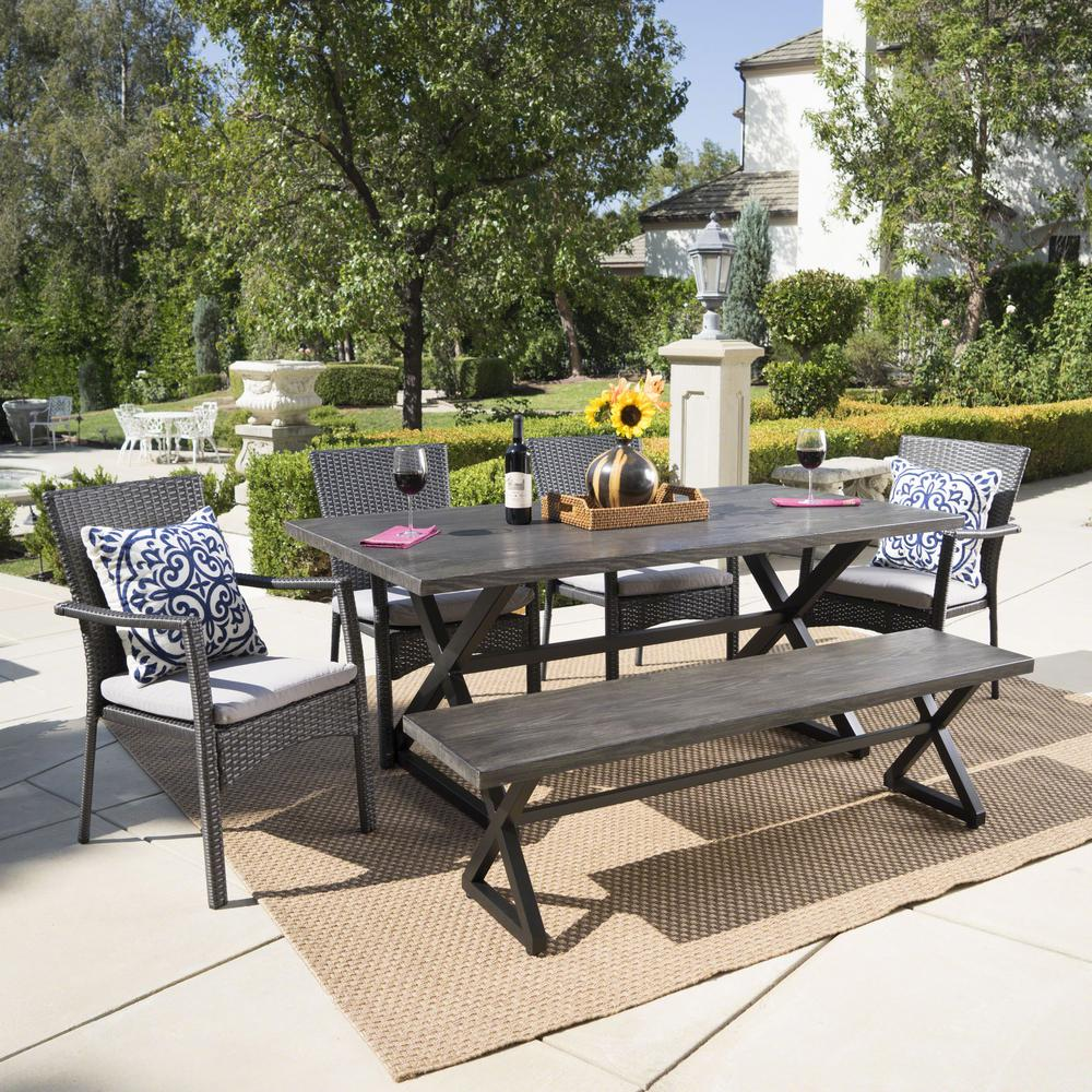 Noble house black 6 piece wicker and aluminum rectangular outdoor dining set with gray cushion