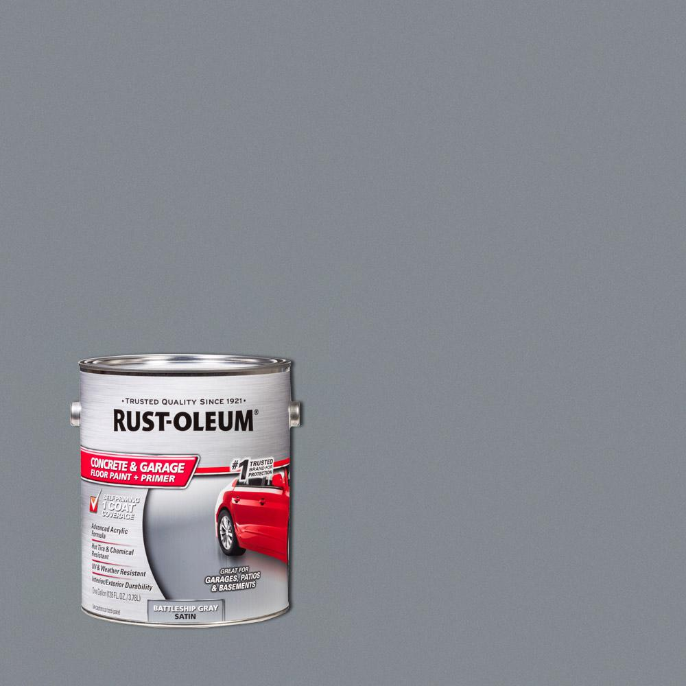 Rust oleum 1 gal battleship gray satin concrete floor interior exterior paint 2 pack 225380 for Rustoleum exterior concrete paint