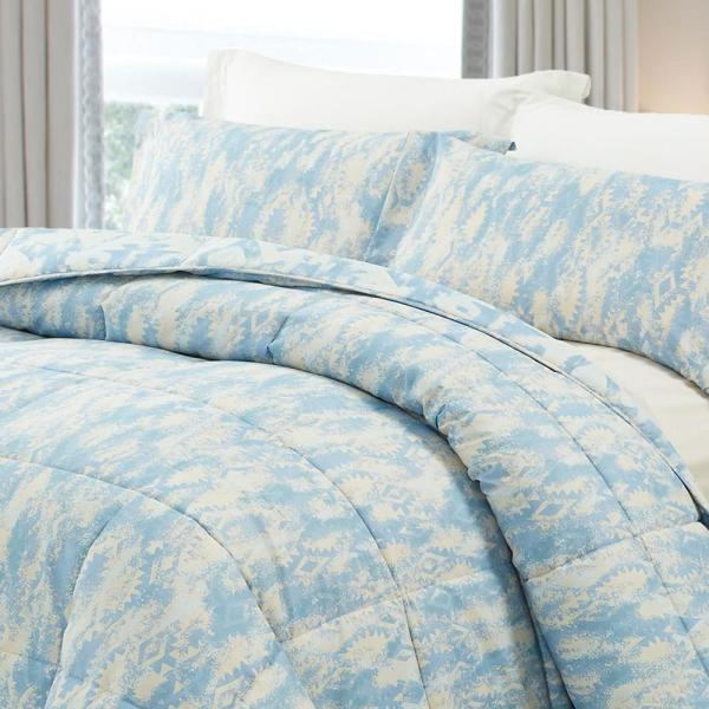 3-Piece Blueish Gray King Comforter Set