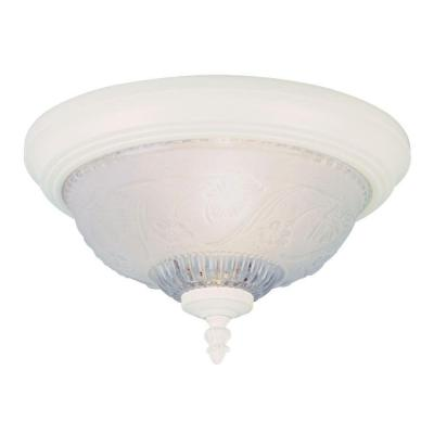1-Light Textured White Interior Ceiling Flush Mount with Embossed Floral and Leaf Design Glass