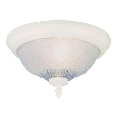 1-Light Textured White Interior Ceiling Flushmount with Embossed Floral and Leaf Design Glass