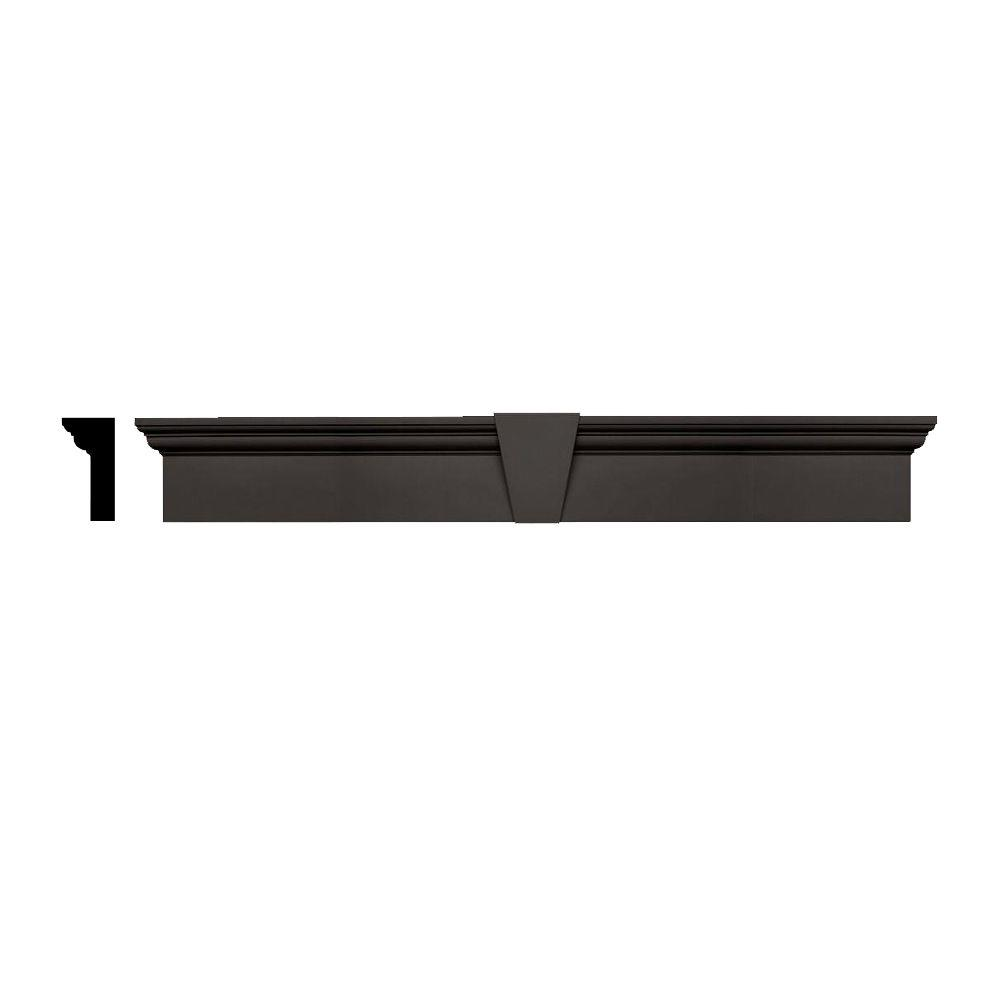 Builders Edge 3-3/4 in  x 9 in  x 73-5/8 in  Composite Flat Panel Window  Header with Keystone in 018 Tuxedo Gray