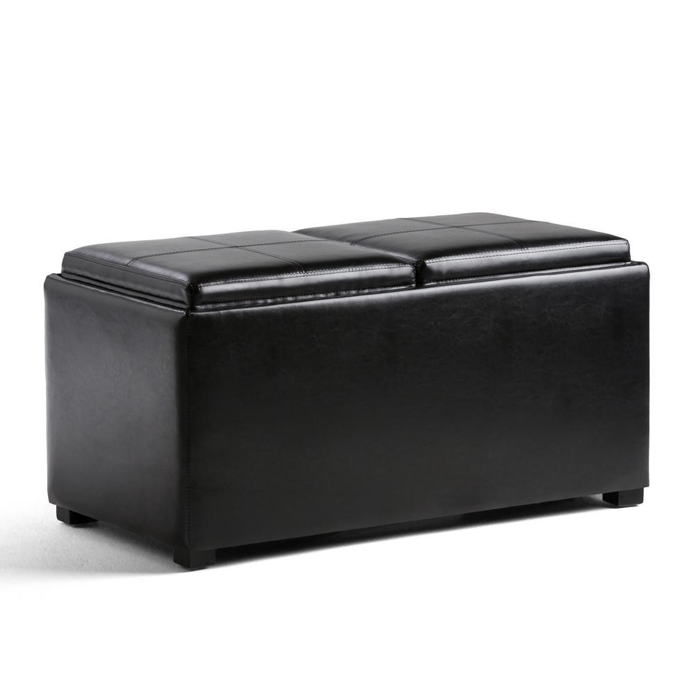 Avalon Midnight Black 5-Piece Storage Ottoman Bench