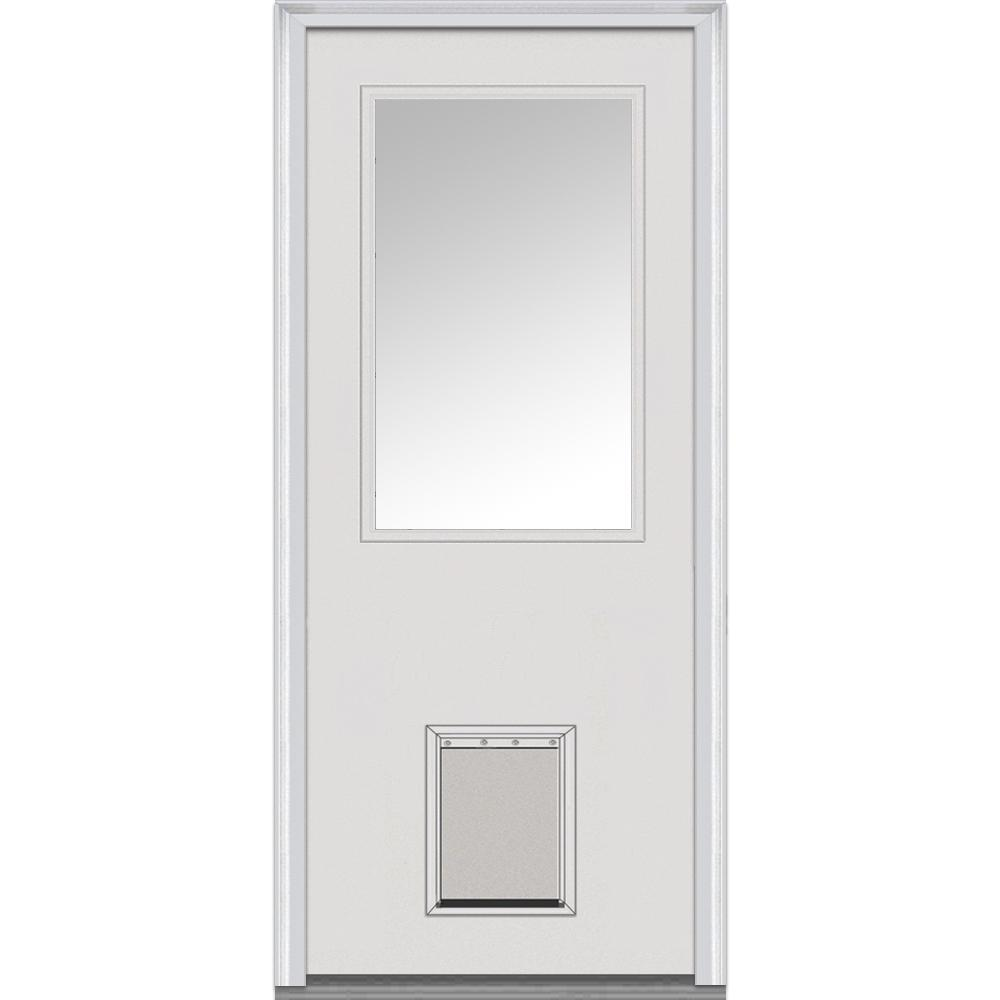 36 in. x 80 in. Clear Left-Hand 1/2 Lite Classic Primed