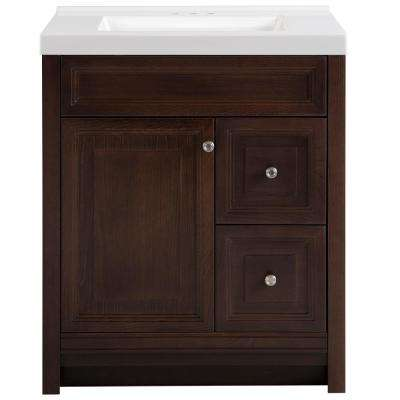 Brinkhill 31 in. W x 22 in. D Bath Vanity in Chocolate with Cultured Marble Vanity Top in White with White Sink