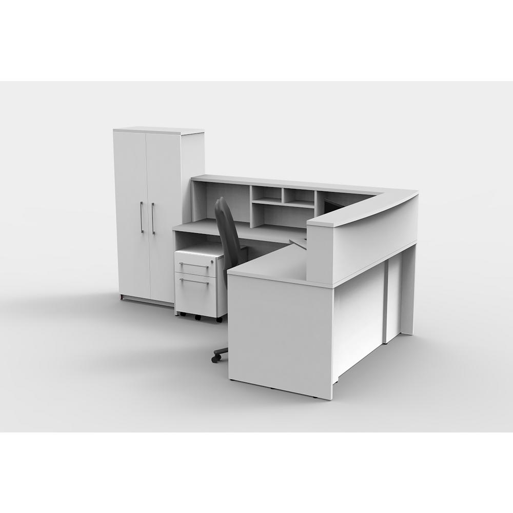 6-Piece White Office Reception Desk Collaboration Center