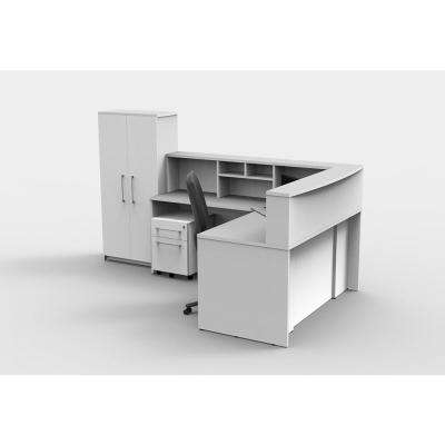 6 Piece White Office Reception Desk Collaboration Center