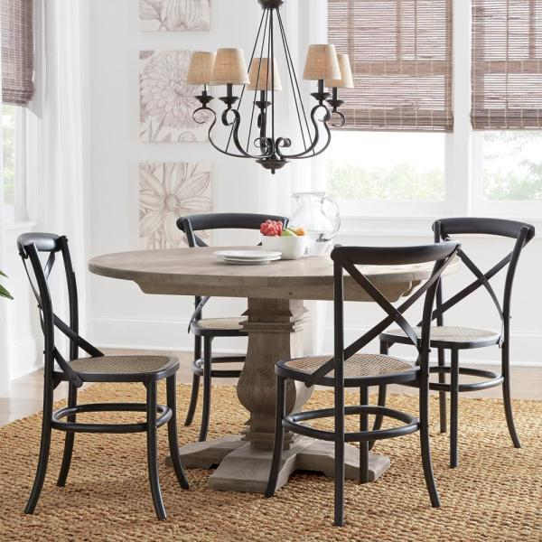 Home Decorators Collection Aldridge Antique Grey Round Dining Table Nb024ag The Home Depot
