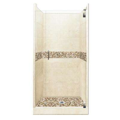 Roma Grand Hinged 42 in. x 42 in. x 80 in. Center Drain Alcove Shower Kit in Desert Sand and Chrome Hardware