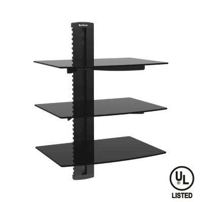 Universal Triple Shelf Wall Mount for A/V Components up to 8kg/17.6 lbs. (x3), Black