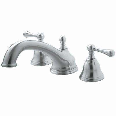 F Shape Spout 2-Handle Deck-Mount Roman Tub Faucet in Brushed Nickel