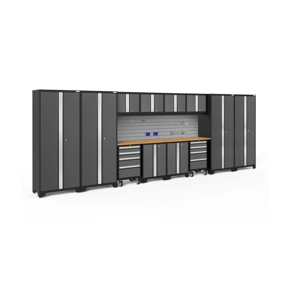 Bold Series 216 in. W x 77.25 in. H x 18 in. D 24-Gauge Steel Cabinet Set in Gray (14-Piece)
