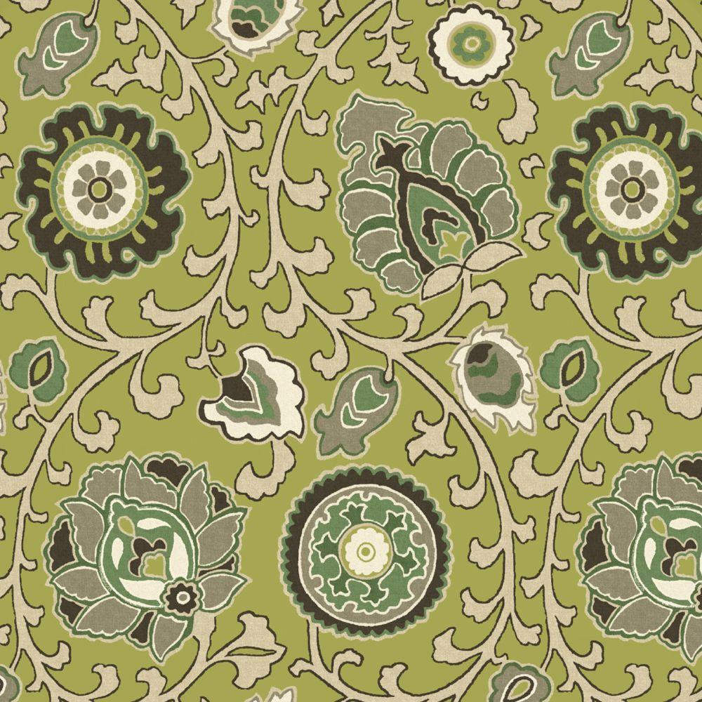 Hampton Bay Green Tea Suzanni Outdoor Fabric by the Yard