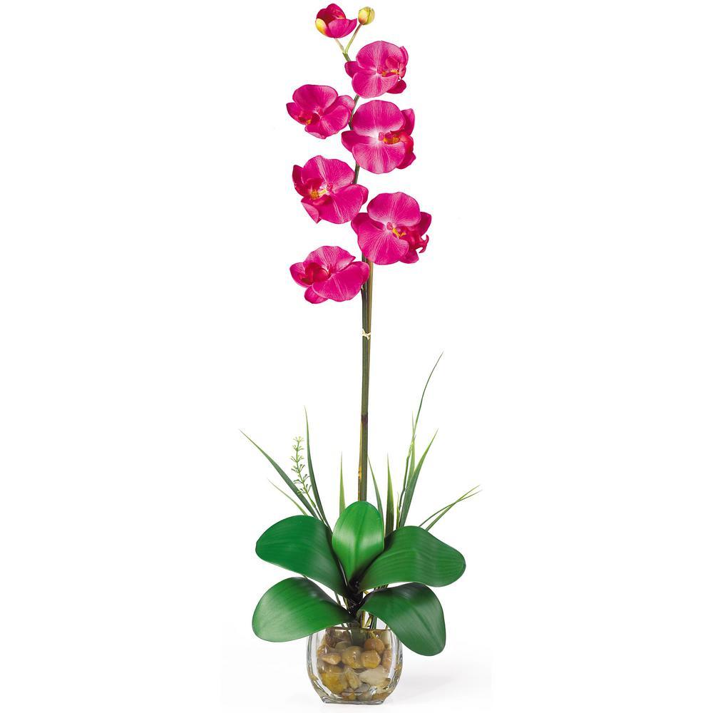 27 in. Single Phalaenopsis Liquid Illusion Silk Flower Arrangement in Beauty
