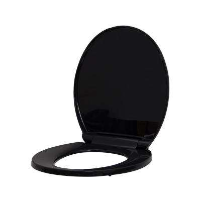 Round Slow Closed Front Toilet Seat with Quick Release Hinges in Black