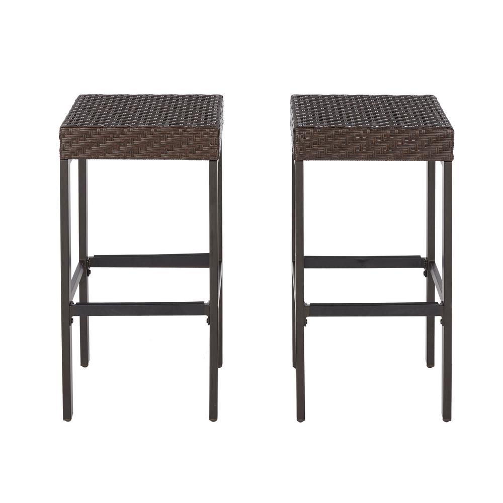 H&ton Bay Rehoboth Dark Brown Wicker Outdoor Bar Stool (2-Pack)  sc 1 st  The Home Depot : outdoor bar chair - Cheerinfomania.Com