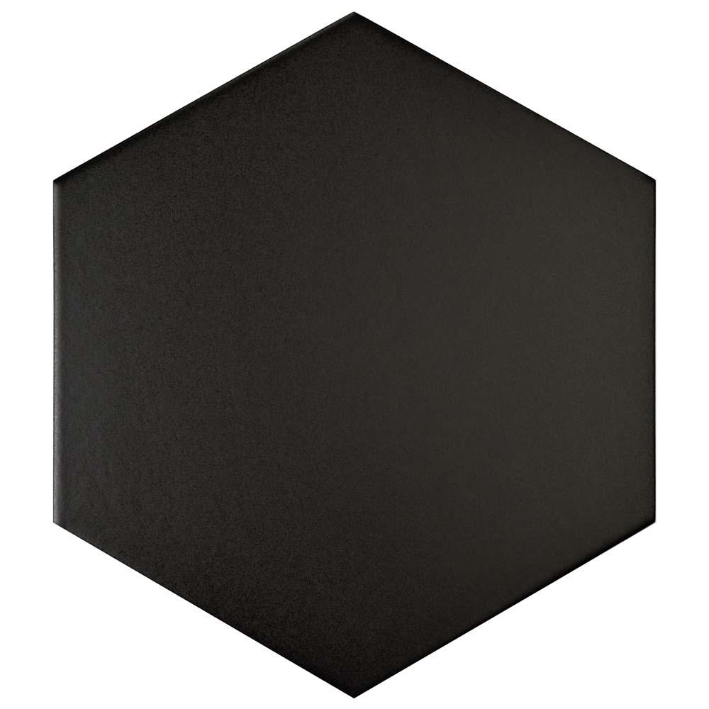 Merola Tile Textile Hex Black 8-5/8 in. x 9-7/8 in. Porcelain Floor and Wall Tile (11.19 sq. ft. / case)