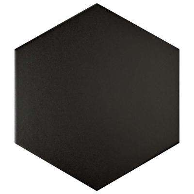 Textile Hex Black 8-5/8 in. x 9-7/8 in. Porcelain Floor and Wall Tile (11.19 sq. ft. / case)