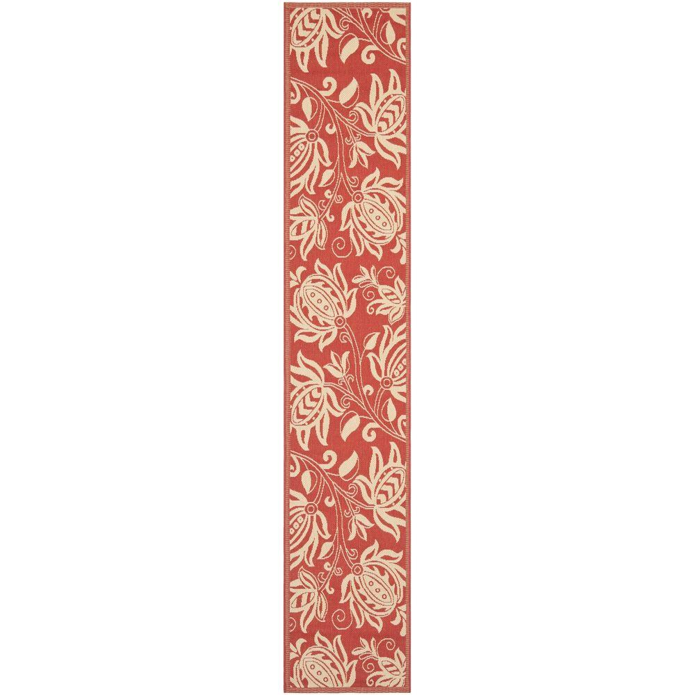 Safavieh Courtyard Red/Natural 2 ft. 3 in. x 12 ft. Indoor ...