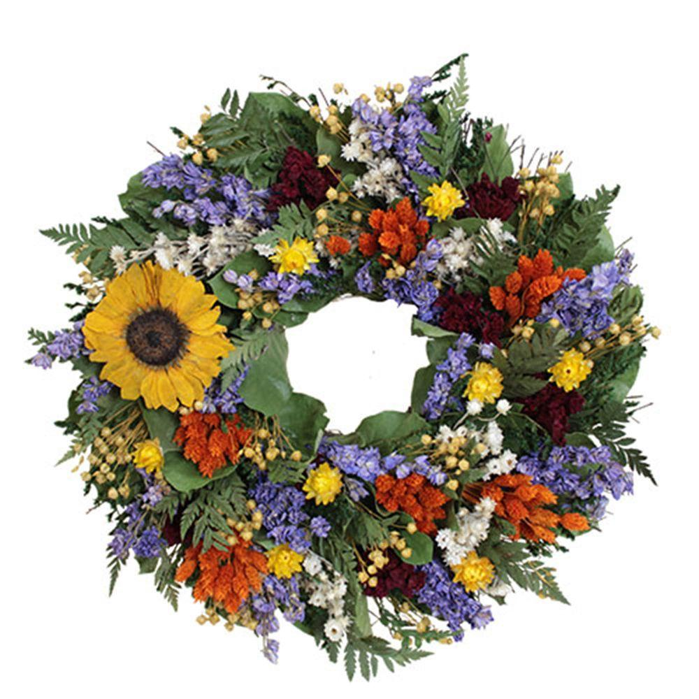 The Christmas Tree Company Swanky Sunflower 16 in. Dried Floral Wreath