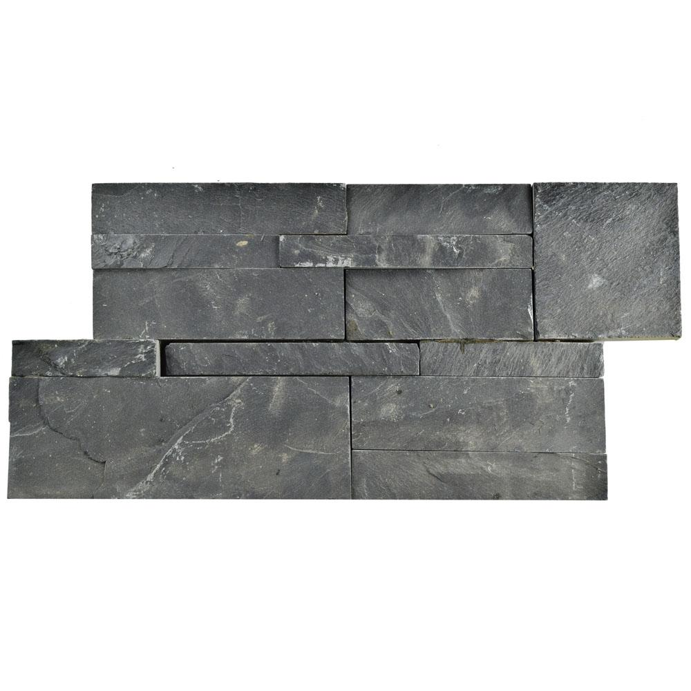 Merola Tile Ledger Panel Black Slate 7 in. x 13-1/2 in. Natural ...