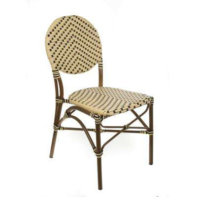 Brown Aluminum Stackable Cream and Black Plastic Wicker Bistro Chair Commercial Grade Outdoor Dining Chair