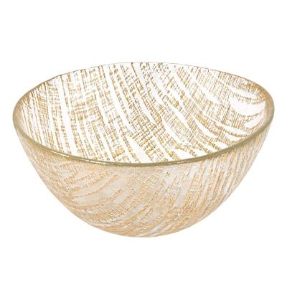 6 in. Secret Treasure Gold Mouth Blown Glass Bowl