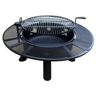 47 in. Round Steel Wood Coal Fleur De Lis and Louisiana Grated Fire Pit in Black