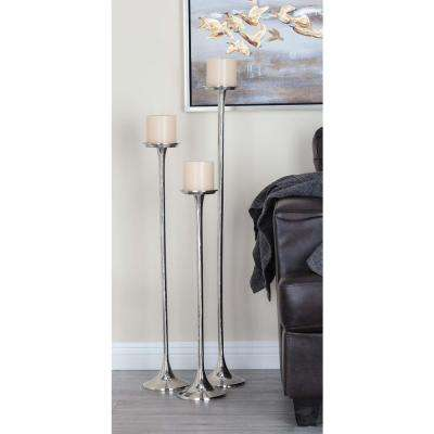 40 in. x 32 in. and 37 in. Modern Silver-Finished Aluminum Candle Holder (Set of 3)