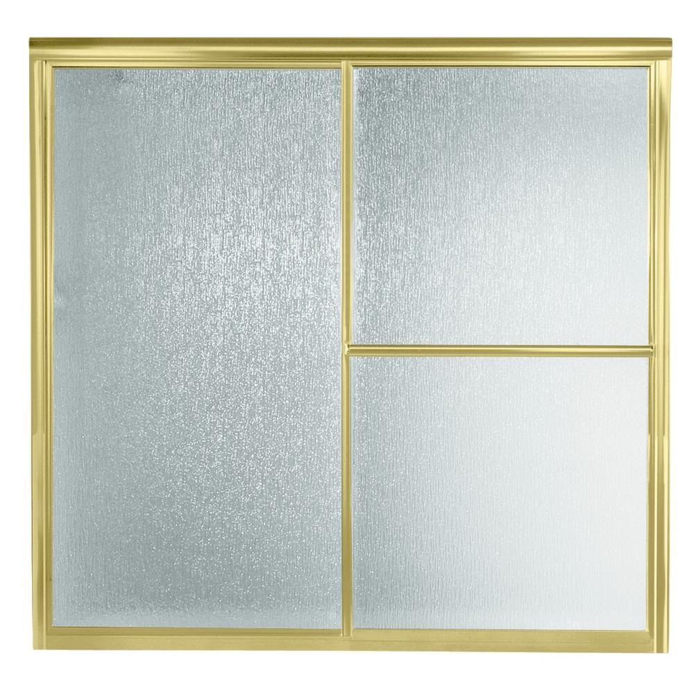 null Deluxe 59-3/8 in. x 56-1/4 in. Framed Bypass Tub/Shower Door in Polished Brass with Rain Glass Texture-DISCONTINUED