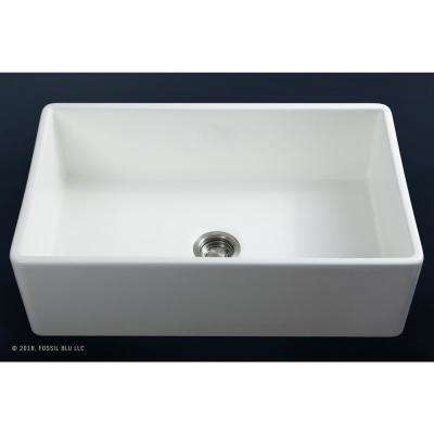 Luxury 33 inch Ultra Fine Fireclay Modern Farmhouse Kitchen Sink in White, Single Bowl with Flat Front, Includes Drain