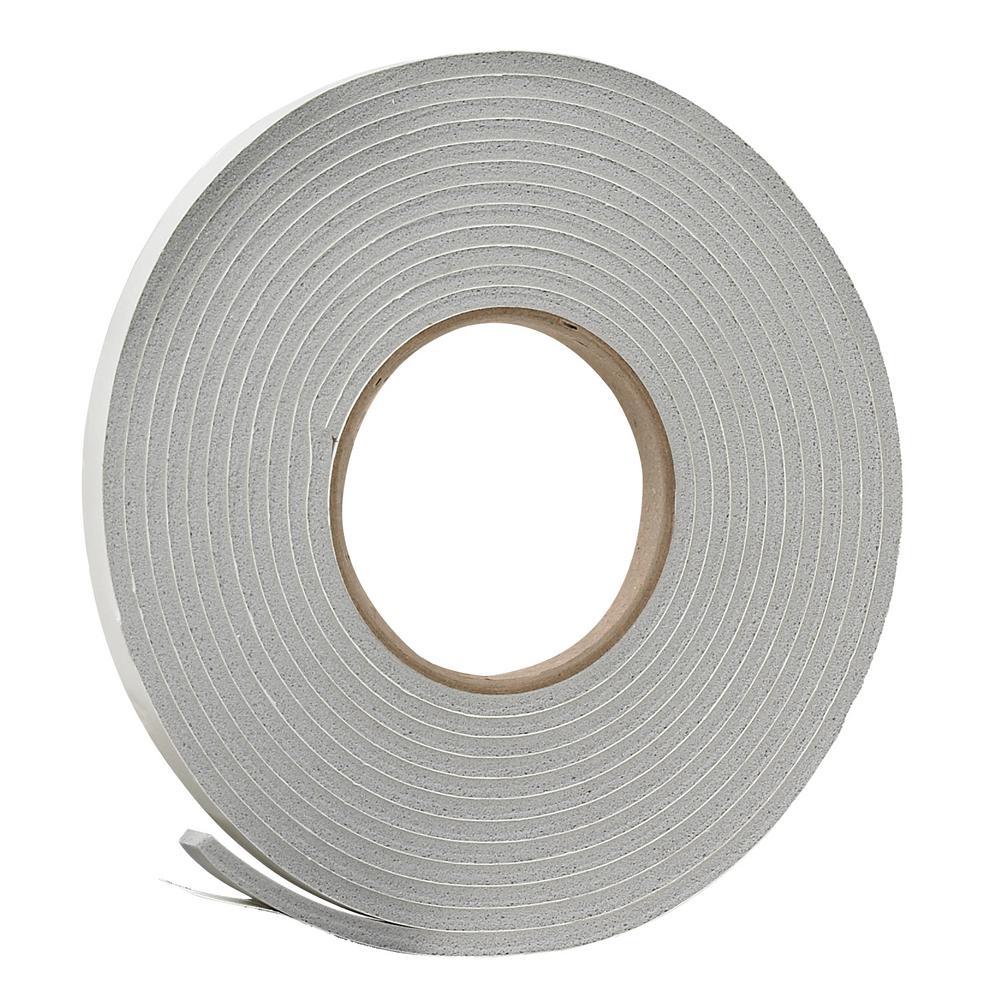 3/8 in. x 3/16 in. x 17 ft. Grey Vinyl Foam Weatherseal Tape