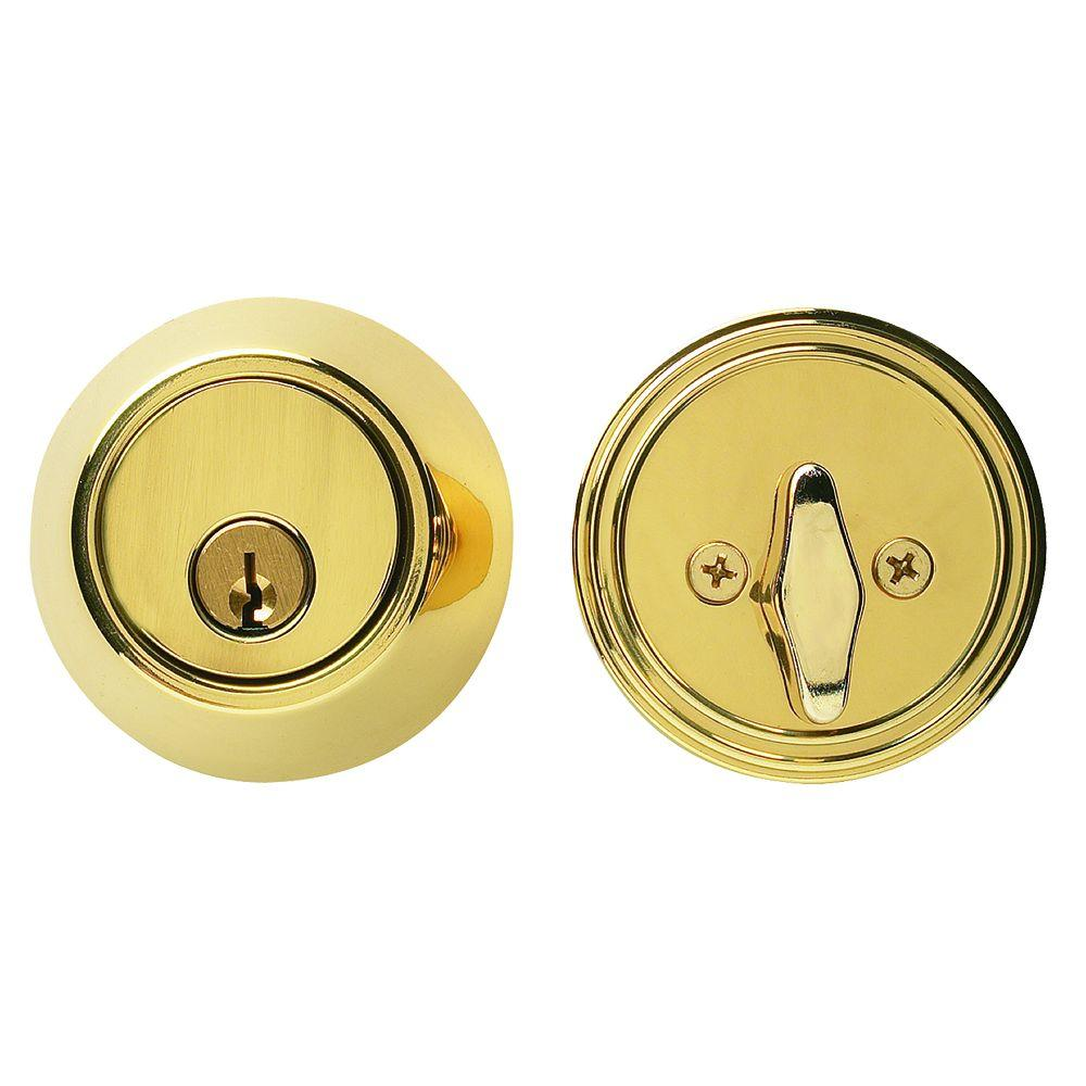 Global Door Controls Bright Brass Residential Single Cylinder Deadbolt