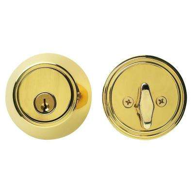 Single Cylinder Bright Brass Residential Deadbolt