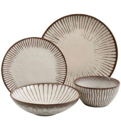 Clare 16-Piece Brown Color Double Bowl Dinnerware Set