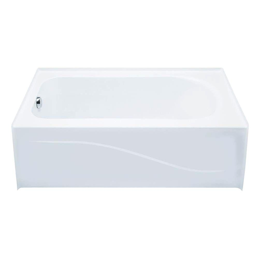 Aquatic 6030ais 5 ft left drain acrylic soaking tub in for Acrylic soaker tub
