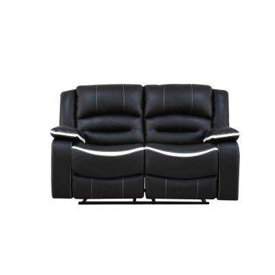 Broderick Ebony and Cream PU Loveseat