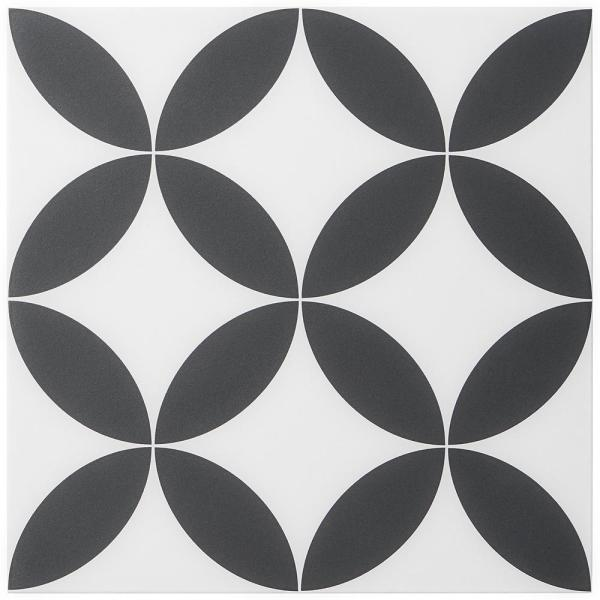 x 8 in Cavanaugh Deco Black 8 in 9 Pieces 3.87 Sq. Ft. // Box Matte Porcelain Floor and Wall Tile