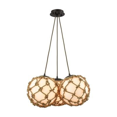 Coastal Inlet 3-Light Oil Rubbed Bronze Chandelier With Rope Wrapped Opal White Glass Shades